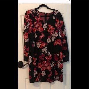 Black Dress with Red & Pink Floral Print, 16P